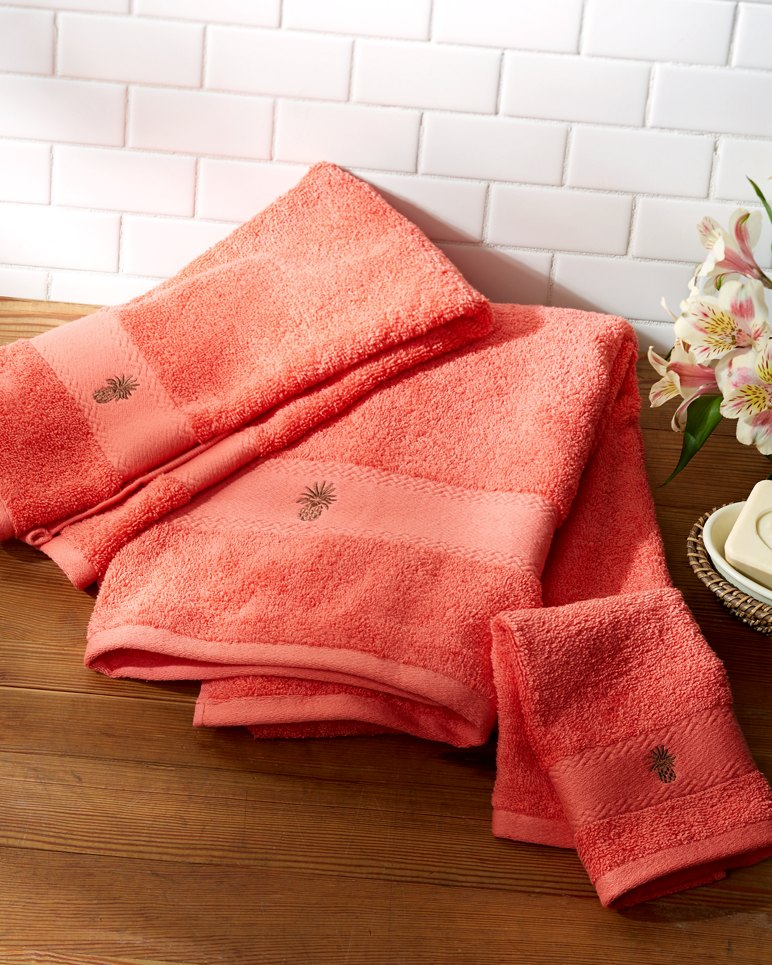 Coral Embroidered Towels