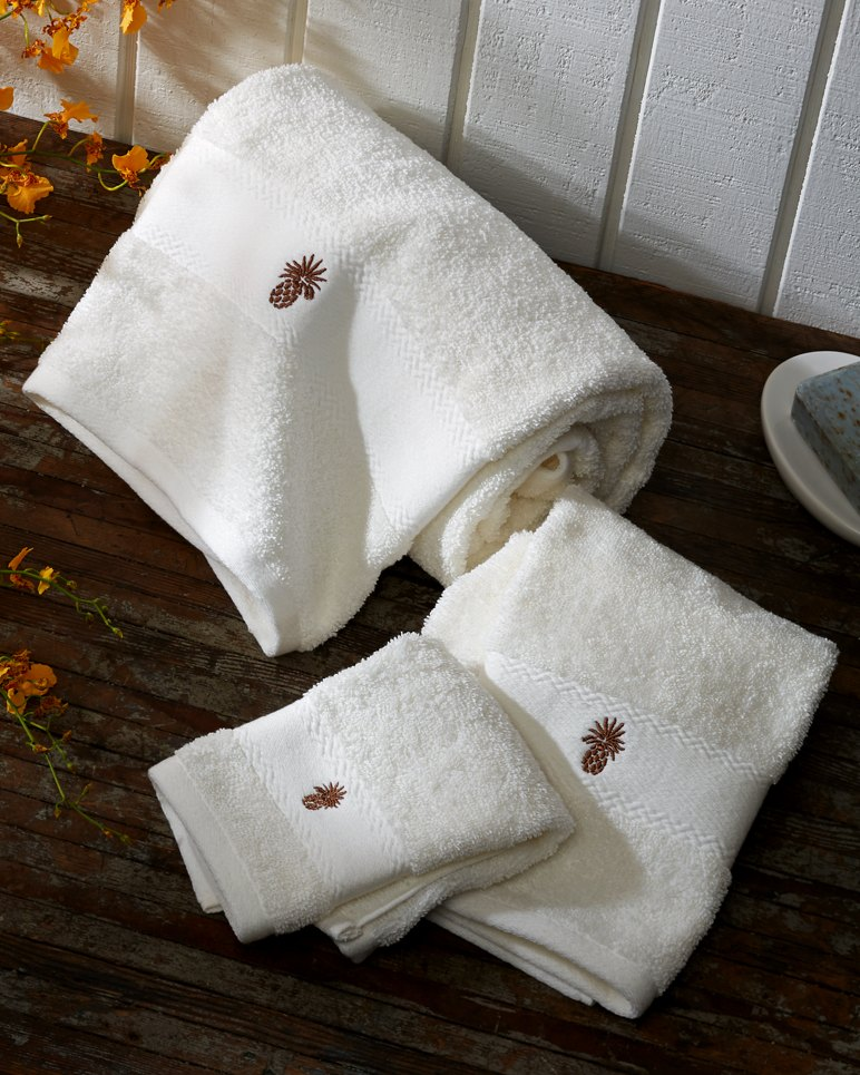 White Embroidered Towels