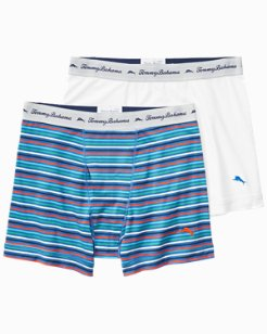 Striped & Solid Jersey-Knit Boxer Briefs - 2-Pack