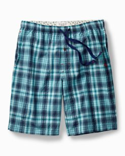 Big & Tall Seersucker Plaid Lounge Shorts