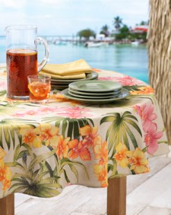 African Orchid Round Tablecloth