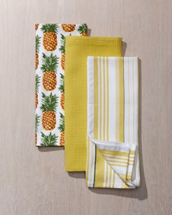 Pineapple Stripe Kitchen Towels - Set of Three
