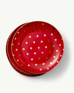 Polka Dot Porcelain Salad Plates - Set of 4