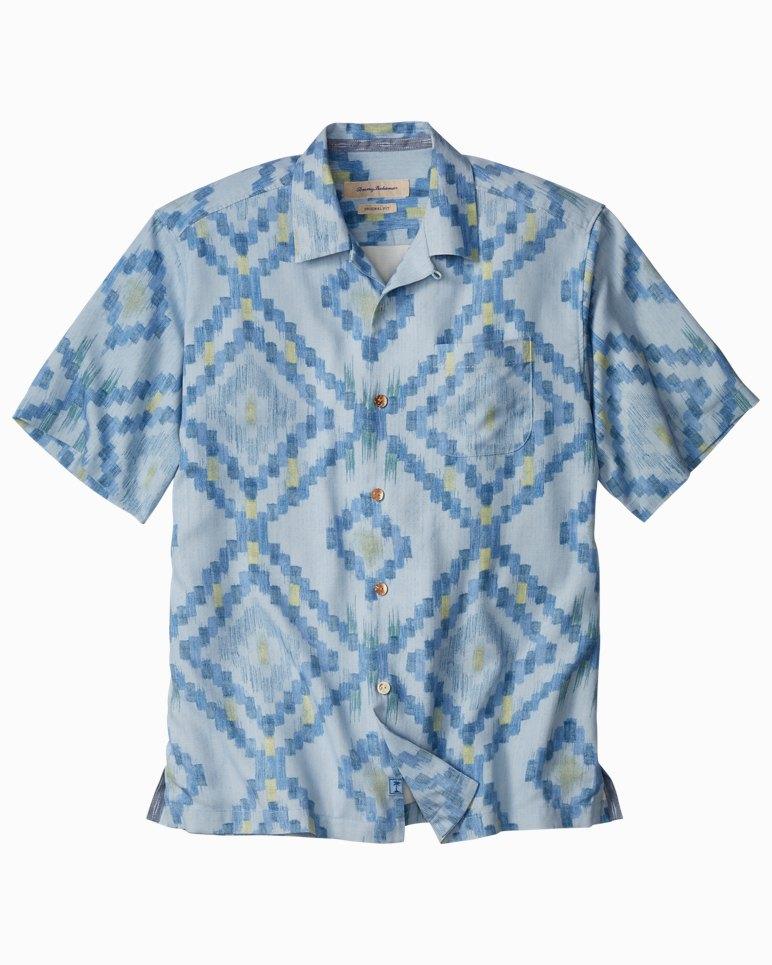 Big & Tall Ikat Diamond Camp Shirt
