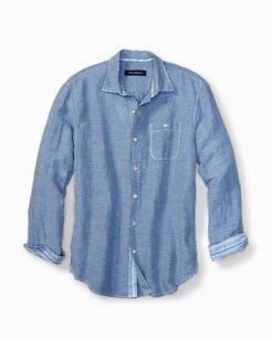 Big & Tall Sand Linen-Blend Check Shirt