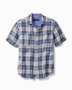Big & Tall Caldera Plaid Linen Camp Shirt
