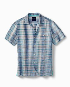 Big & Tall Ionian Plaid Linen Camp Shirt