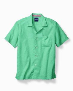 Big & Tall Monaco Tides Stretch-Linen Short-Sleeve Shirt