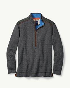 Harris Tweed Quilted Half-Zip Sweatshirt