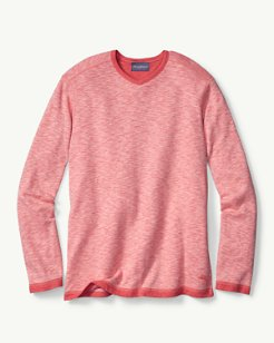 Sea Glass Reversible Knit V-Neck Sweatshirt