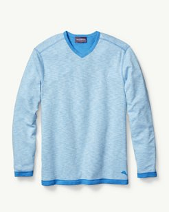 Sea Glass Reversible Knit V-Neck Sweatshirt