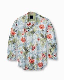 Mediterranean Floral Linen Shirt