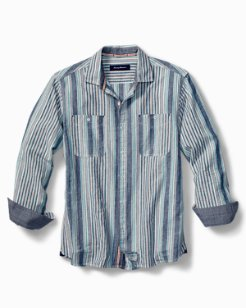 Indigo Skies Stripe Linen-Blend Shirt