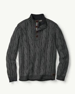 Costa Cable Cashmere Buttoned Mock-Neck Sweater
