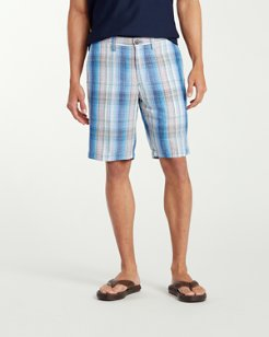 Corfu Plaid 10-Inch Linen Board Shorts