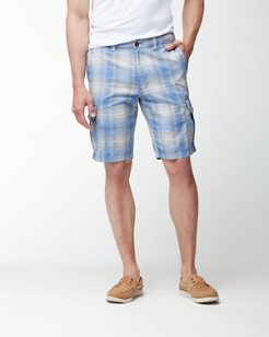 Duble Ombré Plaid 10-Inch Cargo Shorts