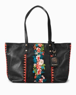Amelia Embroidered Leather Tote