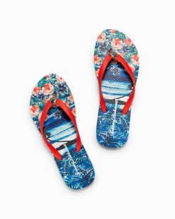 Whykiki Floral Showers Scenic Flip Flops