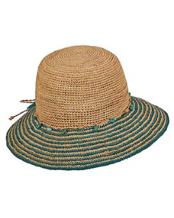 Raffia Bucket Hat with Turquoise Trim
