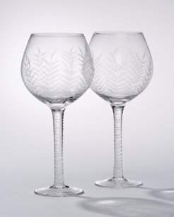 Etched Palm Red Wine Glasses - Set of 2
