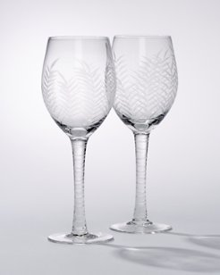 Etched Palm White Wine Glasses - Set of 2