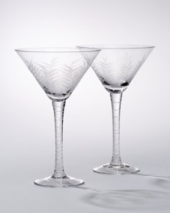Etched Palm Martini Glasses - Set of 2