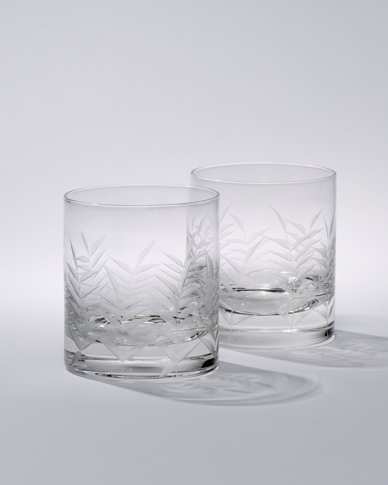 Main Image for Etched Palm Double Old Fashioned Glasses - Set of 2
