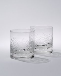 Etched Palm Double Old Fashioned Glasses - Set of 2