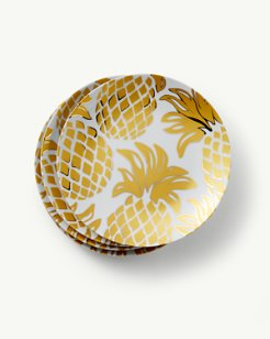 Pineapple Porcelain Salad Plates - Set of 4