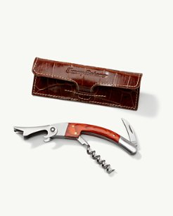 Corkscrew with Crocodile-Embossed Leather Case