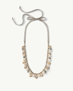 Shining Cowrie Long Tie Necklace