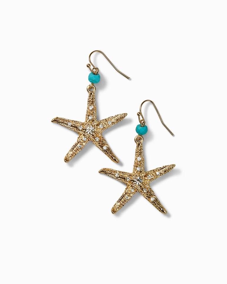 Main Image for Turquoise-Tone Beaded Starfish Earrings