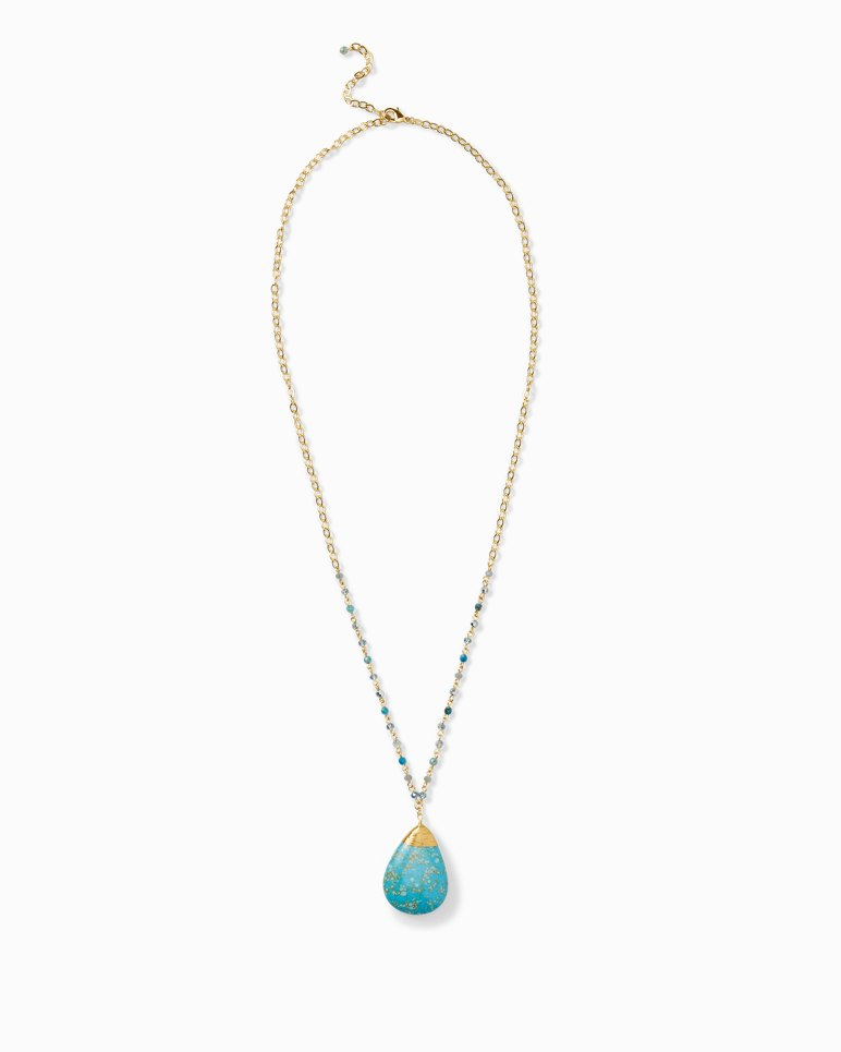 Main Image for Wrapped Turquoise-Tone Teardrop Pendant