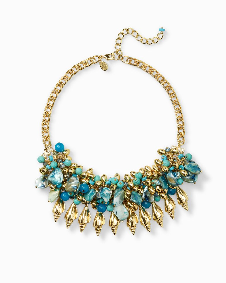 Main Image for Golden Turquoise-Tone Statement Necklace