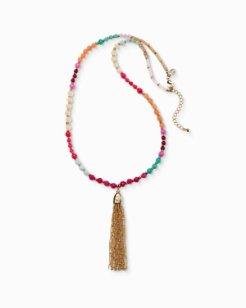 Multicolor Fringe Pendant Necklace