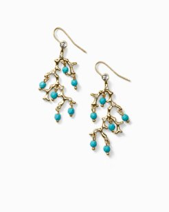 Turquoise-Tone Coral Earrings