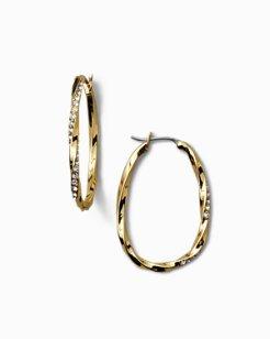 Swarovski® Crystal Twisted Pavé Hoop Earrings