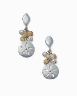 Pearl Sand Dollar Drop Earrings