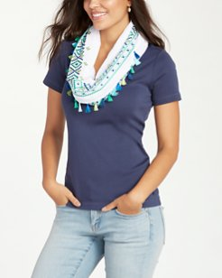 Embroidered Gauze Infinity Scarf