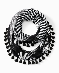 Palm And Stripe Infinity Scarf