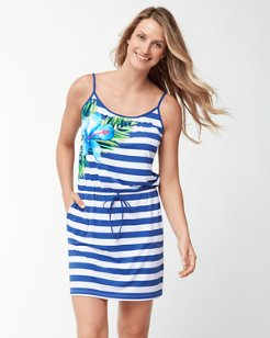 Hibiscus of Paradise Swim Dress With Drawstrings