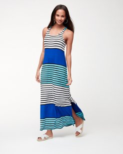 Colorblocked Breton Racerback Maxi Dress