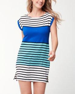 Colorblocked Breton Rolled-Sleeve Dress