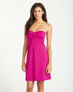 Pearl Twist-Front Bandeau Swim Dress