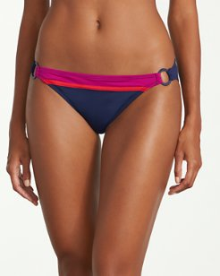 Novelty Solids Hipster Bikini Bottoms with Rings