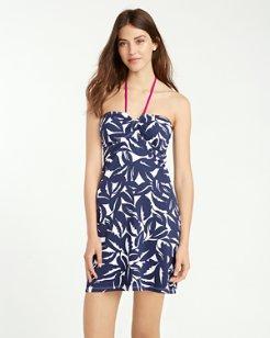 Graphic Jungle V-Front Halter Swim Dress