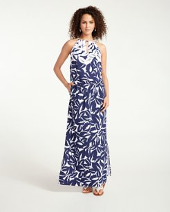 Graphic Jungle High-Neck Maxi Dress