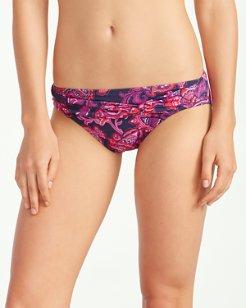 Jacobean Floral Twist-Front Hipster Bikini Bottoms