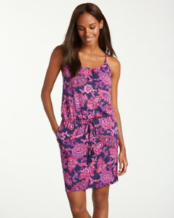 Jacobean Floral Scoop-Neck Swim Dress