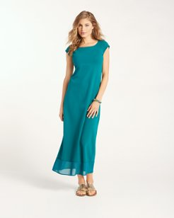 Knit & Chiffon Cap-Sleeve Maxi Dress